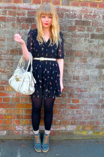 black M Butterfly dress - beige Mischa Barton bag - teal asos wedges