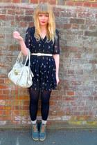 black M Butterfly dress - beige Mischa Barton bag - teal asos wedges