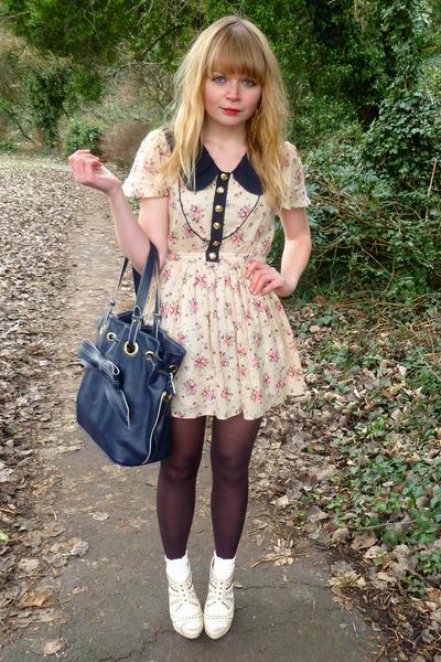 cream Dahlia dress - camel leather vintage blazer - dark brown random tights - n