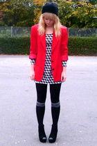 black Love Label shoes - H&M dress - black faux fur BHS hat - red vintage blazer