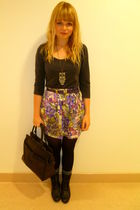 River Island skirt - gray H&M top - purple Primark belt - Ebay necklace - vintag