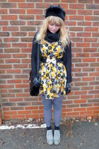 periwinkle brogues next shoes - yellow floral Dahlia dress - black faux fur BHS