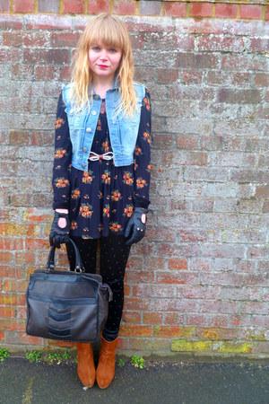 black studded Topshop leggings - dark brown vintage bag - black floral next top