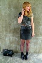 black Ebay boots - black leather Topshop thrifted skirt - gray customised Henry