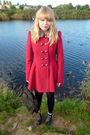 Red-next-coat-red-topshop-shirt-blue-river-island-shorts-brown-vintage-pur