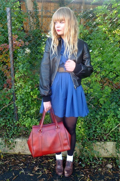 brick red Cotton fields vintage bag - brown next shoes - blue Dahlia dress