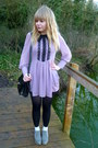 Periwinkle-next-shoes-light-purple-dahlia-dress-black-vintage-coat-black-v
