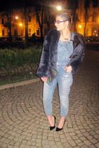 black Zara heels - pull&bear jeans - navy fake fur Zara jacket