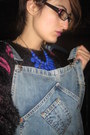 Black-zizù-la-femme-coat-hot-pink-dungarees-pull-bear-jeans