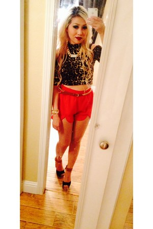 reflections shoes - Fallas shirt - red petal cut Forever 21 shorts