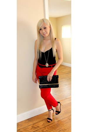 red Express pants - Charloutte Russe shoes - Forever21 bag