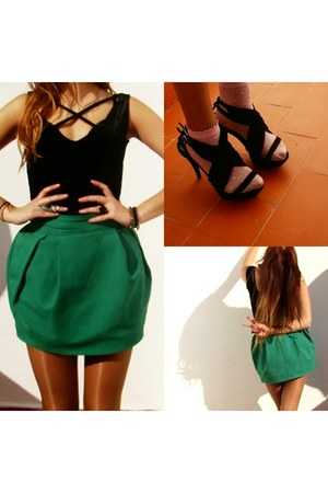 black velvet Primark dress - Calzedonia socks - green Zara skirt