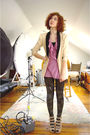 Pink-12x12-cardigan-beige-vintage-blazer-black-we-love-colors-tights-beige