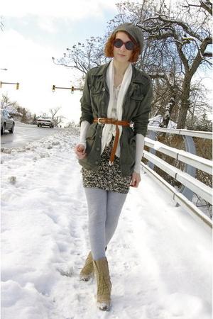 gray vintage hat - green UO jacket - white Forever 21 cardigan - white H&M shirt