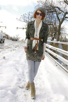 gray vintage hat - green UO jacket - white Forever 21 cardigan - white H&M shirt
