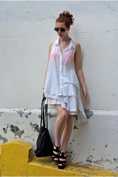 black intermix bag - white Amber Sakai skirt - carrot orange UO bra - white Chea