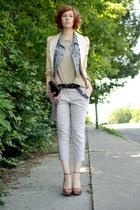 sky blue Gap vest - tan Zara Man sweater - beige Charlotte Russe blazer