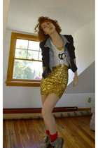 gold vintage dress - beige doc martens boots - black thrifted blazer