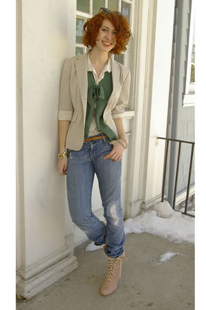 white H&amp;M blouse - green brooklyn industries vest - white Jcrew blazer - blue Pa