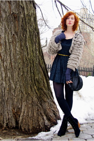 black restricted boots - forest green velvet vintage dress - heather gray knitte