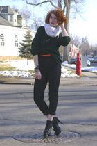 white  scarf - green Jcrew sweater - black banana republic pants - black Steven