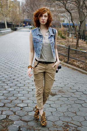 white Forever 21 blouse - tawny Schutz boots - sky blue Thrifed Gap vest