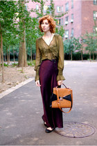 olive green Astars by Denise Focil blouse - light orange melie bianco bag