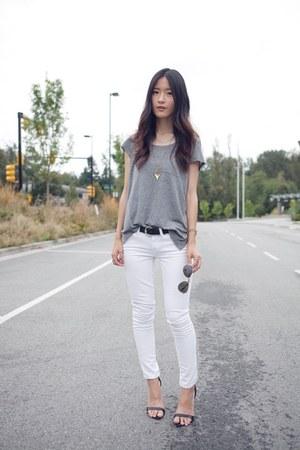 white JCrew jeans - silver H&M t-shirt - black Zara heels