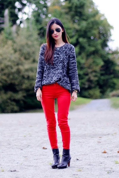 red Zara pants - black Nine West boots - black H&M sweater