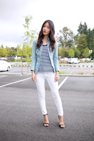 navy Club Monaco top - white JCrew jeans - light blue Guess shirt