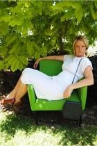 white vintage spot dress dress - black vintage handbag bag - vintage tan high he
