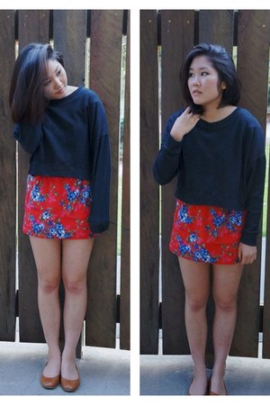 navy Forever 21 sweater - red cotton floral skirt - tawny leather Aldo flats