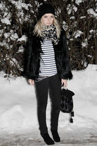 black Topshop coat - black superfine jeans - white GINA TRICOT sweater