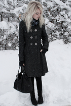 black Burberry coat - black Chanel accessories - asos boots
