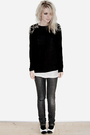 Black-zara-sweater-gray-acne-jeans-white-chanel-shoes