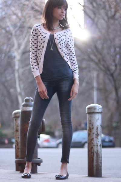 H&M cardigan - Zara jeans - Brooks Brothers flats