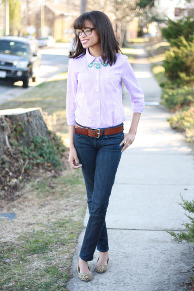 gingham J Crew shirt - JCrew jeans - cheetah print Lulus flats
