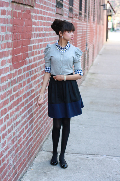 J Crew shirt - asos skirt - Forever 21 cardigan - Brooks Brothers flats