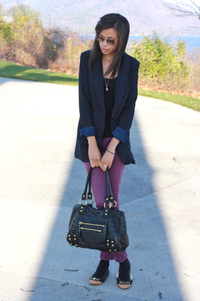 Tobi blazer - Urban Outfitters jeans - linea pelle bag - Shabby Apple flats