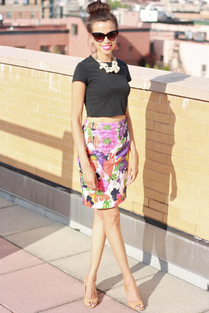 banana republic shirt - JCrew skirt - Nine West wedges
