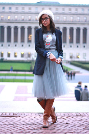alexandra grecco skirt - Frye boots - J Crew sweater - Tobi blazer