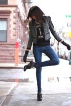 Fabcom t-shirt - Forever 21 jeans - H&M jacket - Steve Madden heels