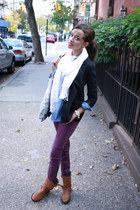 H&M blazer - Zara boots - Urban Outfitters jeans - JCrew blouse