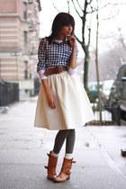 H&M skirt - Zara boots - J Crew shirt