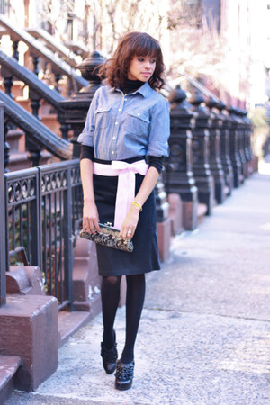 Anthropolgie skirt - Steve Madden boots - J Crew shirt