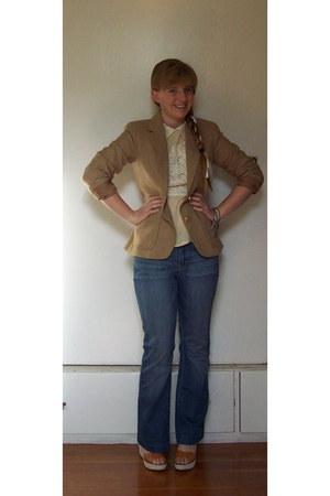 vintage blazer - modcloth blouse - JCrew wedges