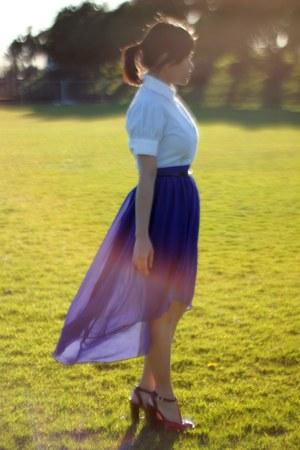 blue asymmetrical TK Maxx skirt - light blue thrifted blouse