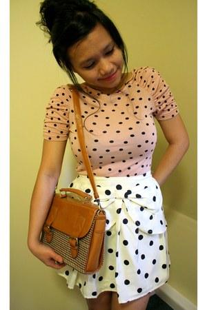 peach polkadot H&M blouse - bronze Ebay bag - black Primark skirt