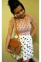 peach polkadot H&M blouse - bronze Ebay bag - black Primark skirt