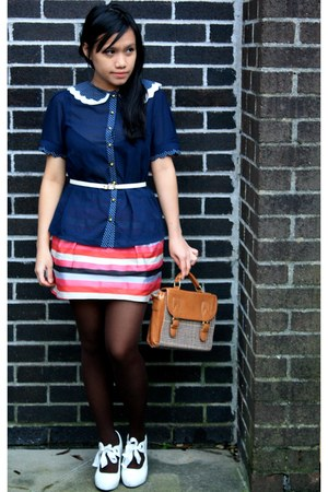 navy Primark blouse - tawny satchel thrifted bag